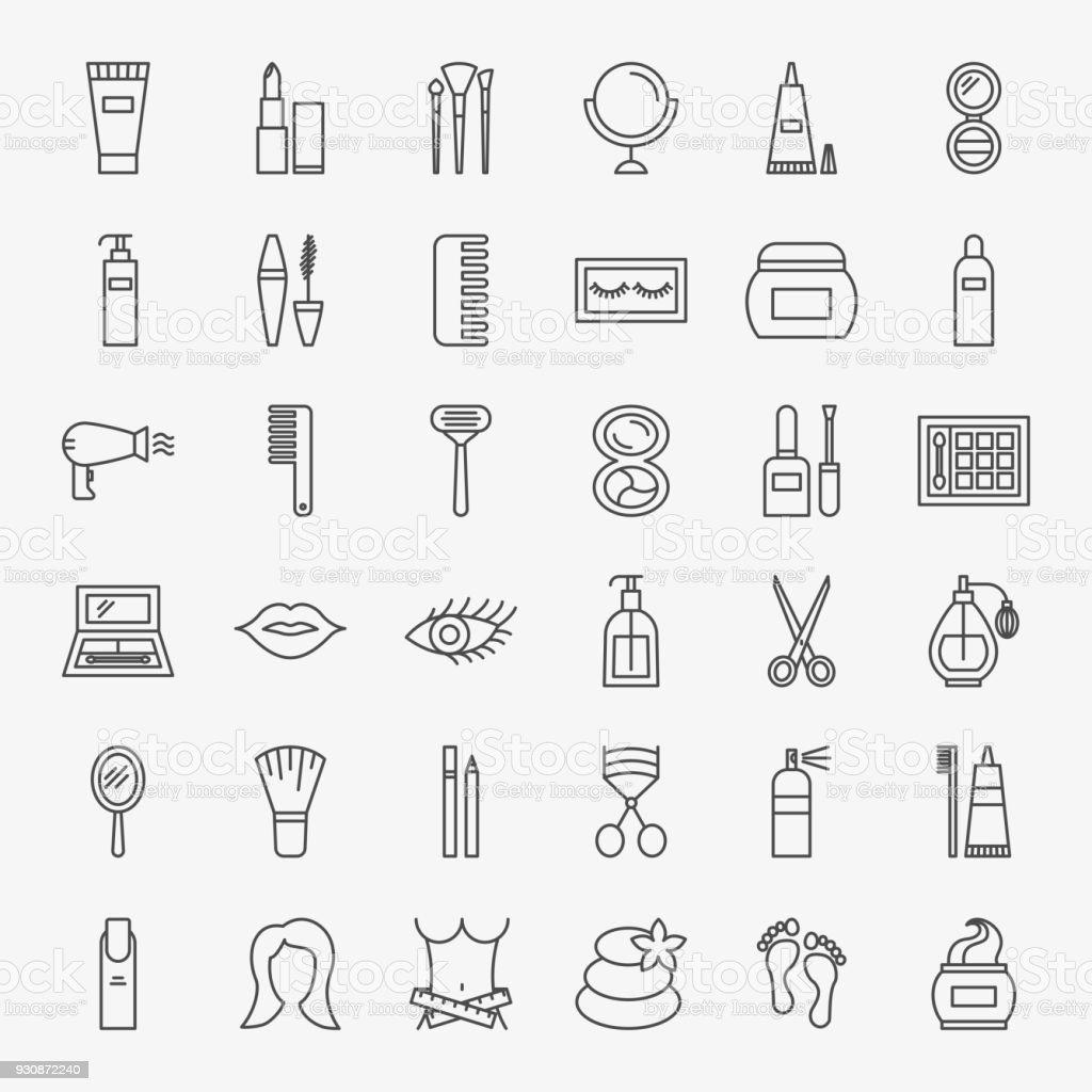 Cosmetics Line Icons Set vector art illustration