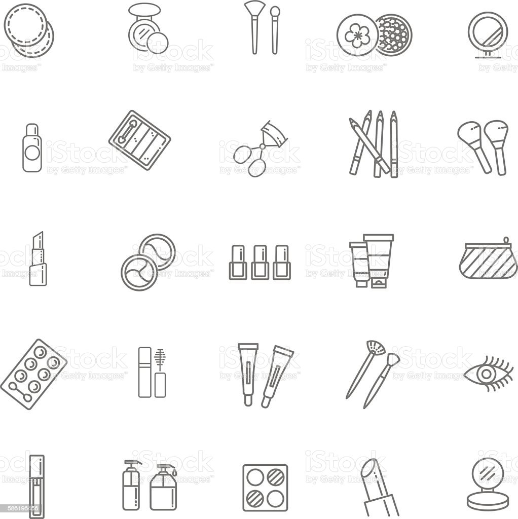 cosmetics line icons stock vector art amp more images of