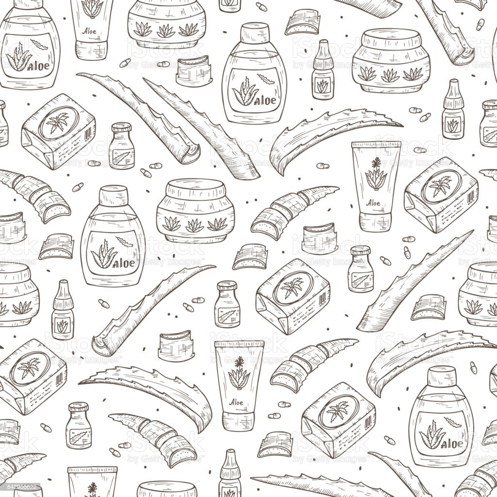 Cosmetics made from Aloe and Aloe Vera plant Seamless pattern vector art illustration