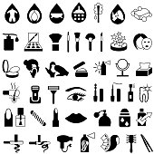 Single color isolated icons of beauty and makeup products.