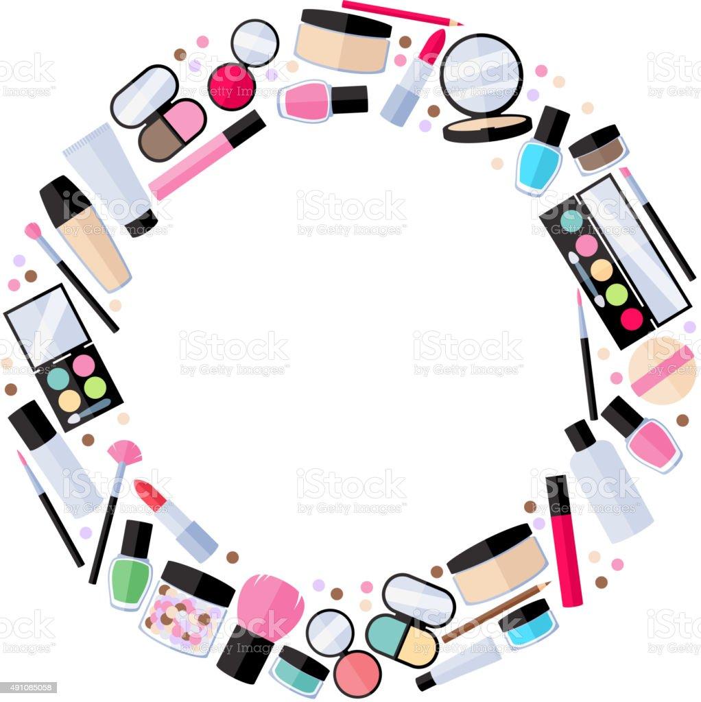 cosmetics makeup beauty accessories illustration stock