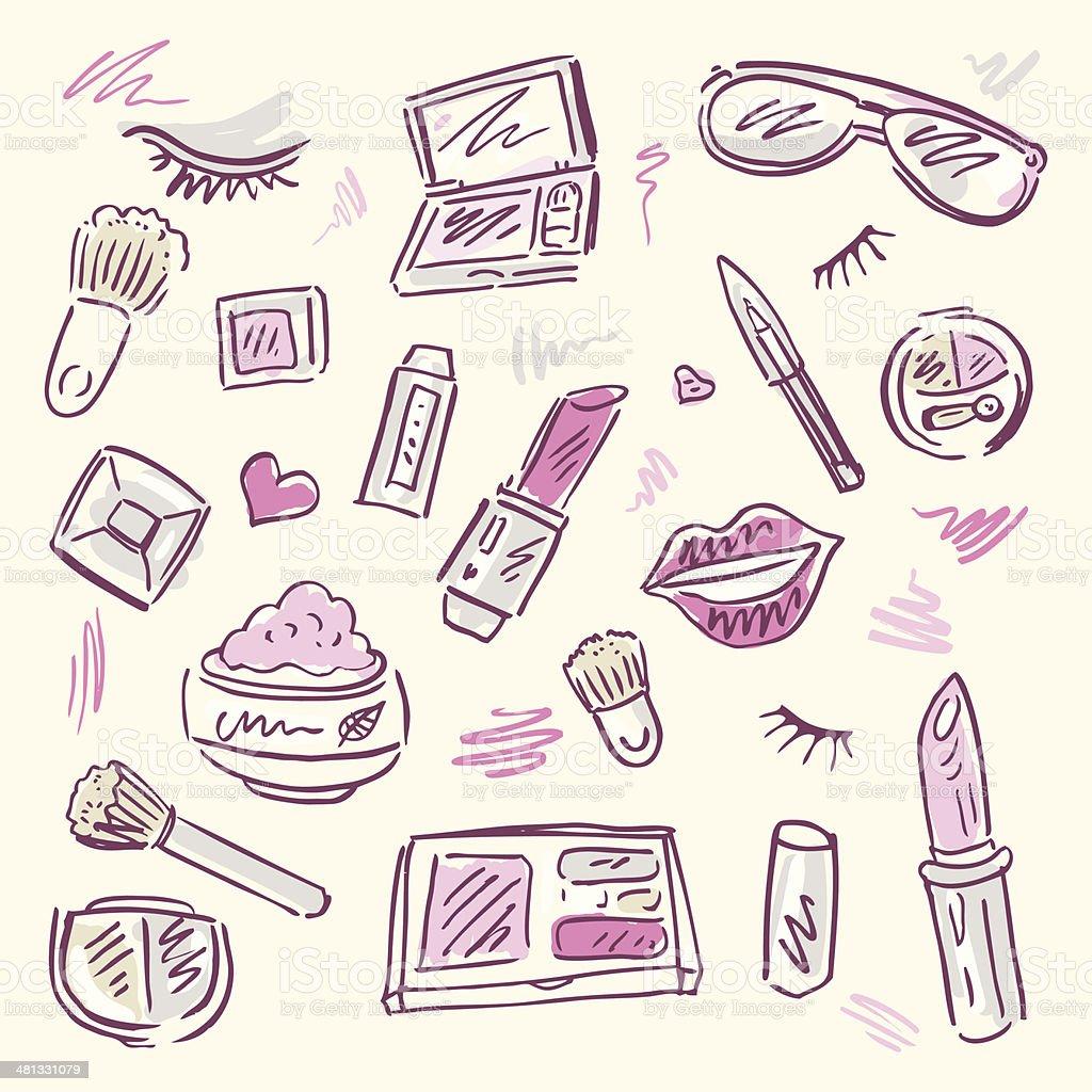Cosmetics.  Makeup set. vector art illustration