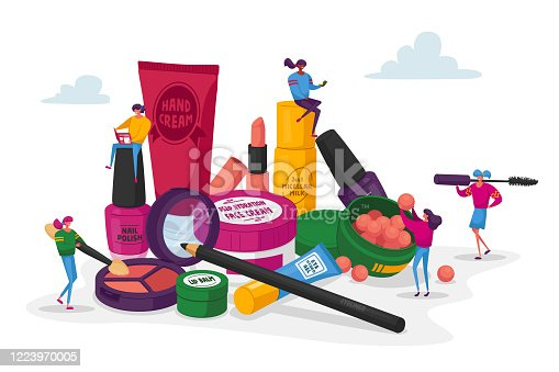 Cosmetics Masterclass, Face Care, Beauty. Women in Beautician Parlor. Female Characters Testing Skin Care Products in Beauty Salon. Makeup Courses, Make Up School. Cartoon People Vector Illustration