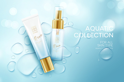 Cosmetics on a background with water drops. Moisturizing Face Cream Design Template. Vector illustration