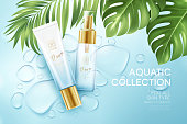 Cosmetics on blue water drop background with tropical palm leaves. Face cosmetics, body care banner, flyer template design. Vector illustration EPS10