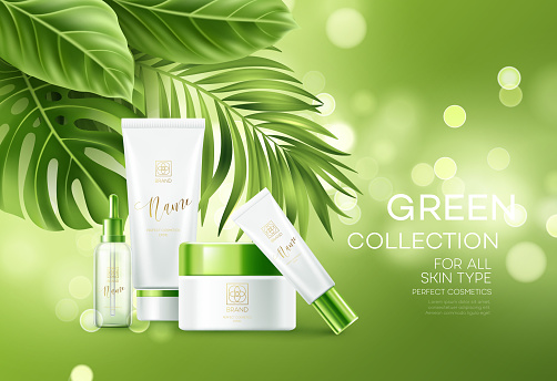 Cosmetics On Green Bokeh Background With Tropical Palm Leaves Face Cosmetics Body Care Banner Flyer Template Design Vector Illustration Stock Illustration Download Image Now Istock