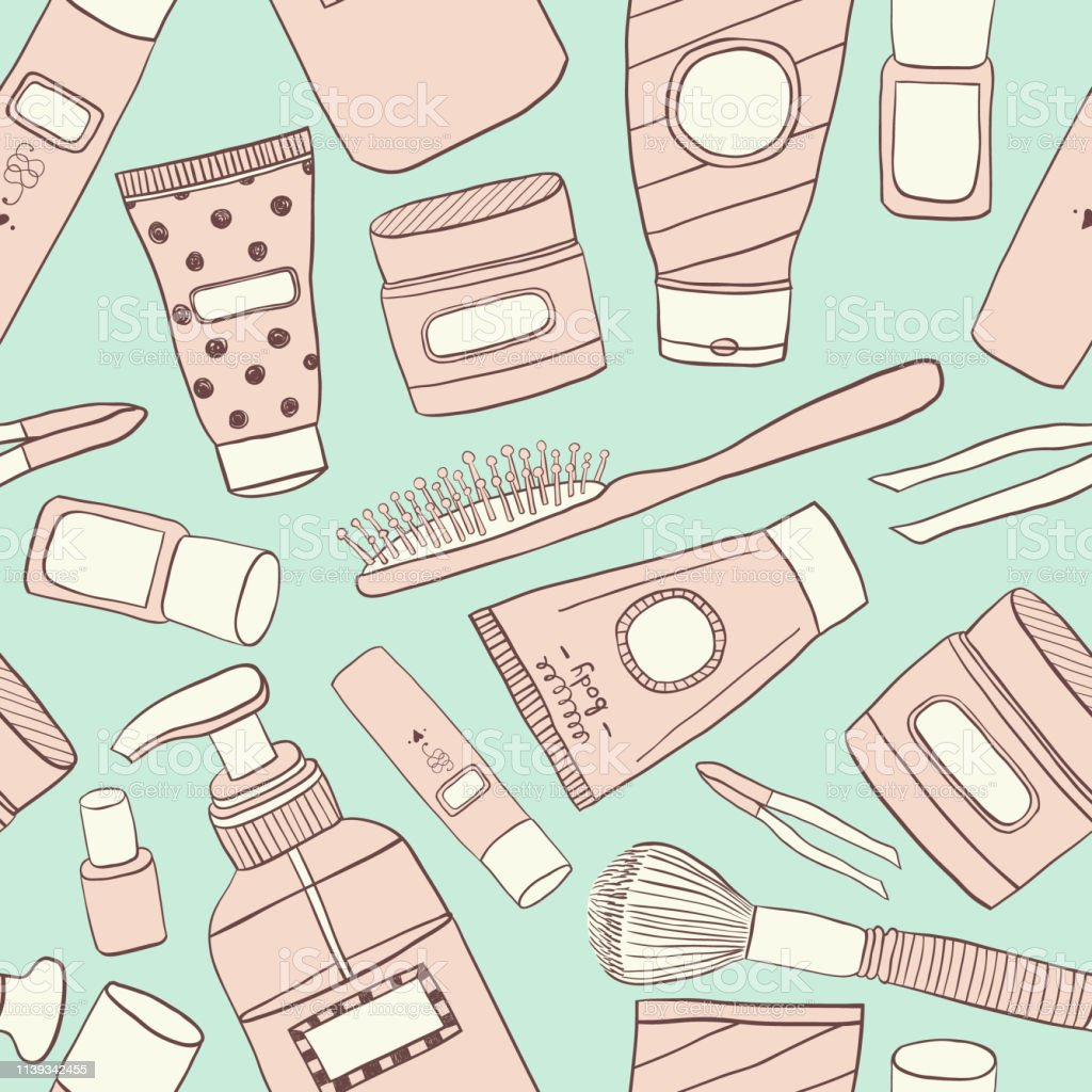 Cosmetics pattern seamless. Hand DrawVector Line wallpaper. Contains...