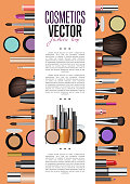 Cosmetic product presentation booklet cover. Makeup accessories set on orange. Brush, powder, lipstick, eye pencil, nail polish vectors. Cosmetics promo brochure page template for magazine publication
