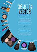 Cosmetic product presentation booklet cover. Makeup accessories set on blue. Brushes, powder, lipstick, eye pencil, nail polish vectors. Cosmetics promo brochure page template for magazine publication