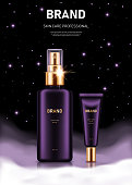 Realistic spray bottle and tube with golden lids on night background with clouds and stars. Advertising poster for the promotion of cosmetic skin care premium product