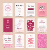 Cosmetics shop business card, beauty parlor invitation, nail salon flyer, spa procedures poster, make-up banner. Artistic vector templates set with thin line symbols and hand drawn design elements. Isolated vector set.