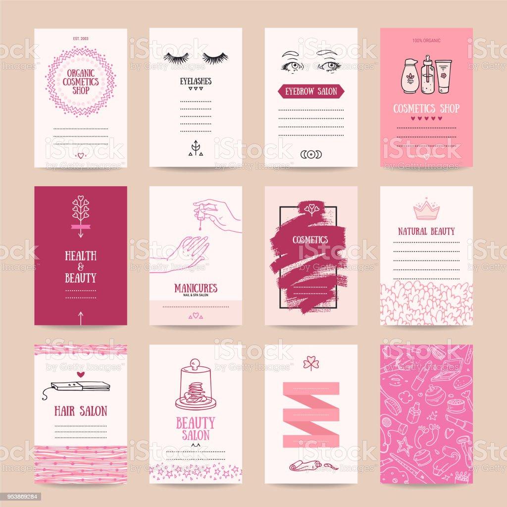 Tienda de cosméticos, Maquillaje artista plantillas de tarjeta de visita - ilustración de arte vectorial