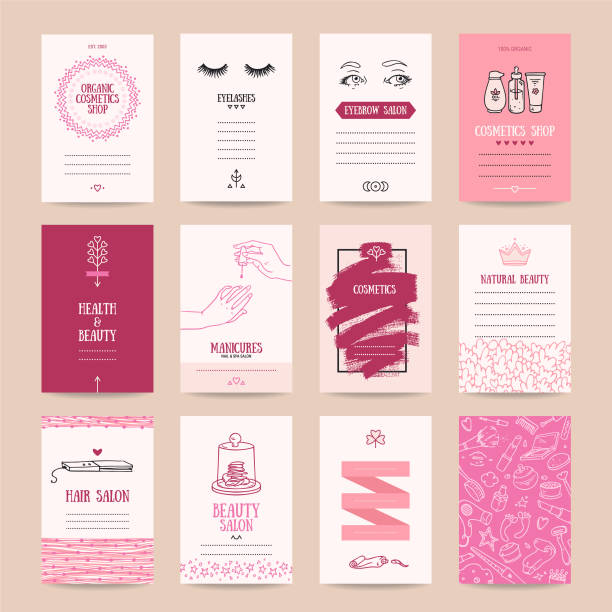 cosmetics shop, makeup artist business card templates - makeup fashion stock illustrations