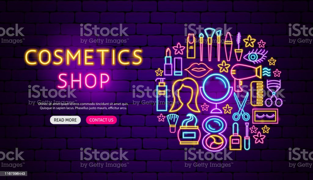 Cosmetics Shop Neon Banner Design Stock Illustration Download Image Now Istock