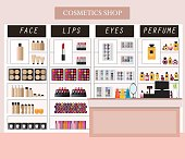 Cosmetics store interior with products on shelves, shopping,  beauty shop, cosmetic products, health and beauty vector illustration.