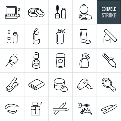 A set of cosmetics icons that include editable strokes or outlines using the EPS vector file. The icons include eye shadow, skin cream, mascara, face power, blush, lip gloss, lip stick, hair spray, lotion, nail file, face powder brush, nail polish, deodorant, hand soap, curling iron, nail clippers, towel, hair dryer, hand mirror, perfume, eye liner, tweezers and other related icons.
