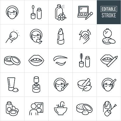 Cosmetics Thin Line Icons - Editable Stroke