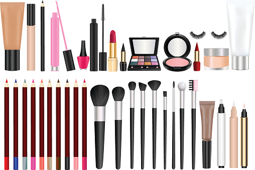 Makeup and cosmetic stock illustrations