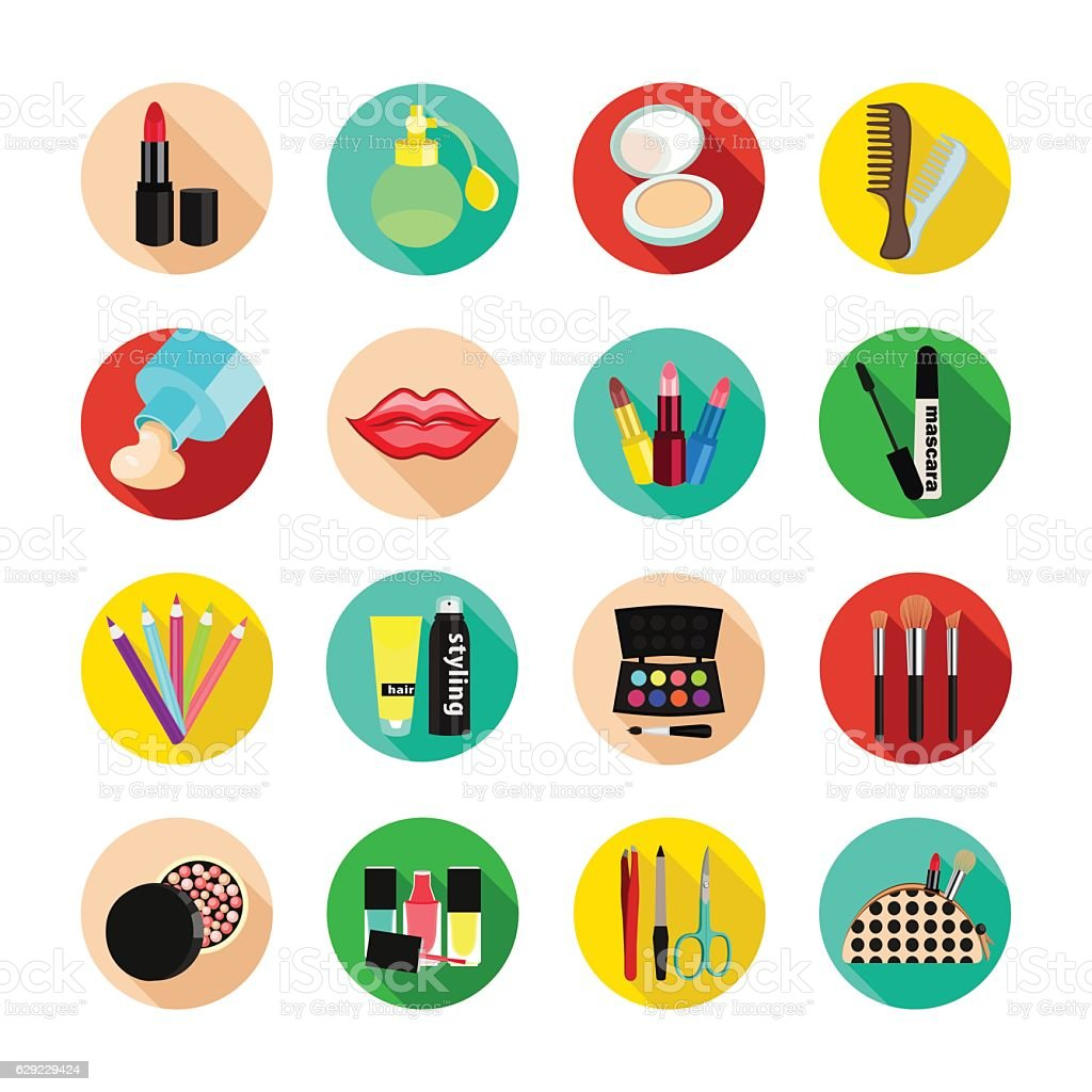 cosmetics vector set icon multicolored icons with cosmetic