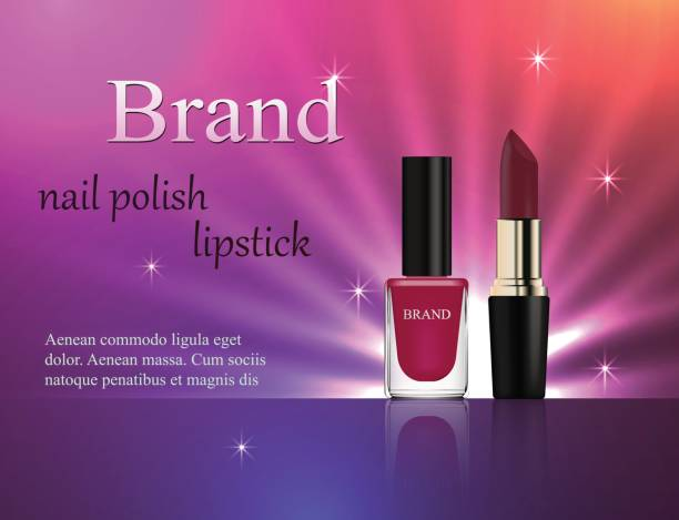 Cosmetics, violet nail polish and lipstick on a gentle bright background with light rays, advertising, banner, glamor, luxury, 3d vector realistic, design Cosmetics, violet nail polish and lipstick on a gentle bright background with light rays, advertising, banner, glamor, luxury, 3d vector realistic, design glossa stock illustrations