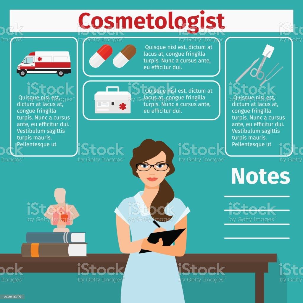 Kosmetikerin und medizinische Geräte Symbole – Vektorgrafik