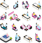 Beauty salon set of isometric icons cosmetic procedures manicure and barber services isolated vector illustration