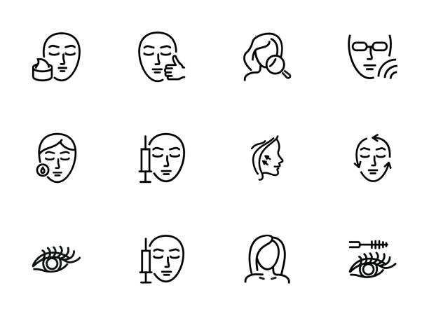 Cosmetology line icon set Cosmetology line icon set. Botox injection, solarium, mascara. Beauty concept. Can be used for topics like dermatology, skin care, aesthetics human face stock illustrations