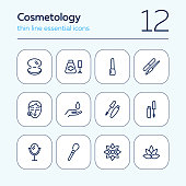 Cosmetology line icon set. Mascara, nail polish, face, lotus flower. Beautician concept. Can be used for topics like beauty salon, beauty care, makeup