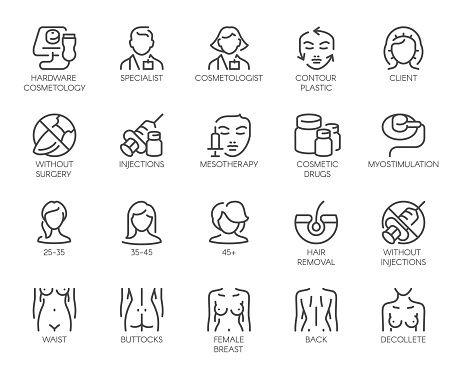 Cosmetology line icons. 20 outline labels isolated on white. Beauty therapy, healthcare, wellness linear symbols clipart