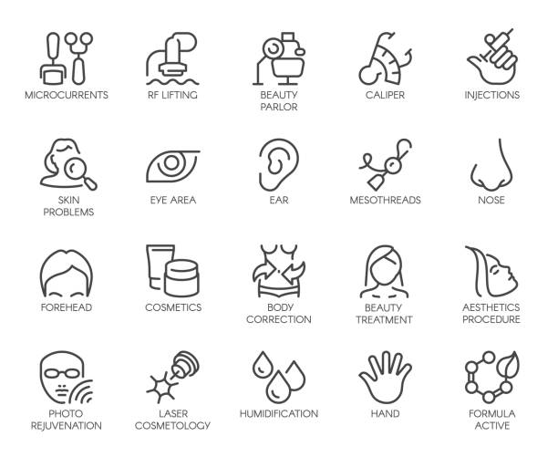 Cosmetology line icons set. 20 outline pictograms isolated. Beauty therapy, bodycare, healthcare, wellness treatment linear symbols. Correction, rejuvenation, anti-aging procedure logo. Vector graphic Cosmetology line icons set. 20 outline pictograms isolated. Beauty therapy, bodycare, healthcare, wellness treatment linear symbols. Correction, rejuvenation, anti-aging procedure logo. Vector graphic antiaging stock illustrations