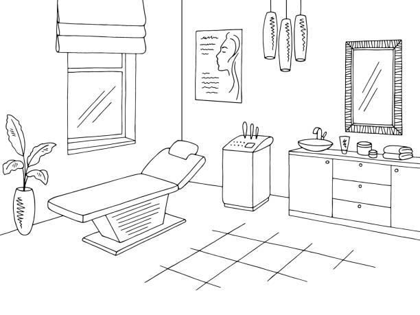 美容オフィス クリニック グラフィック ブラック ホワイト インテリア スケッチ イラスト ベクターアートイラスト