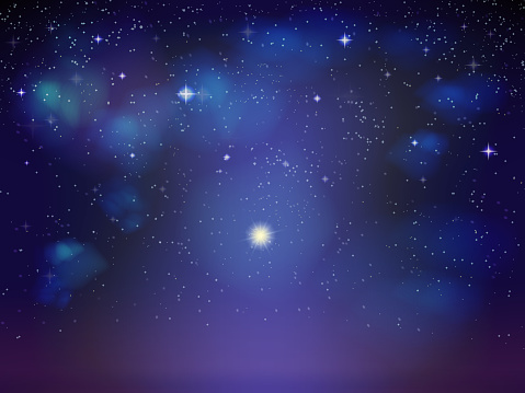 Cosmic Background Of The Starry Sky With Nebulae Of Galaxies Blue Black Green Turquoise Soft Color Transition Bright Star Is The Planet With The Glow Stock Illustration Download Image Now Istock