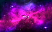 Cosmic background. Space backdrop with bright stars, stardust and nebula. Realistic cosmos with colorful galaxy. Color milky way. Vector illustration.