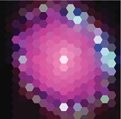 Vector hexagon pattern background with purple cosmic lights