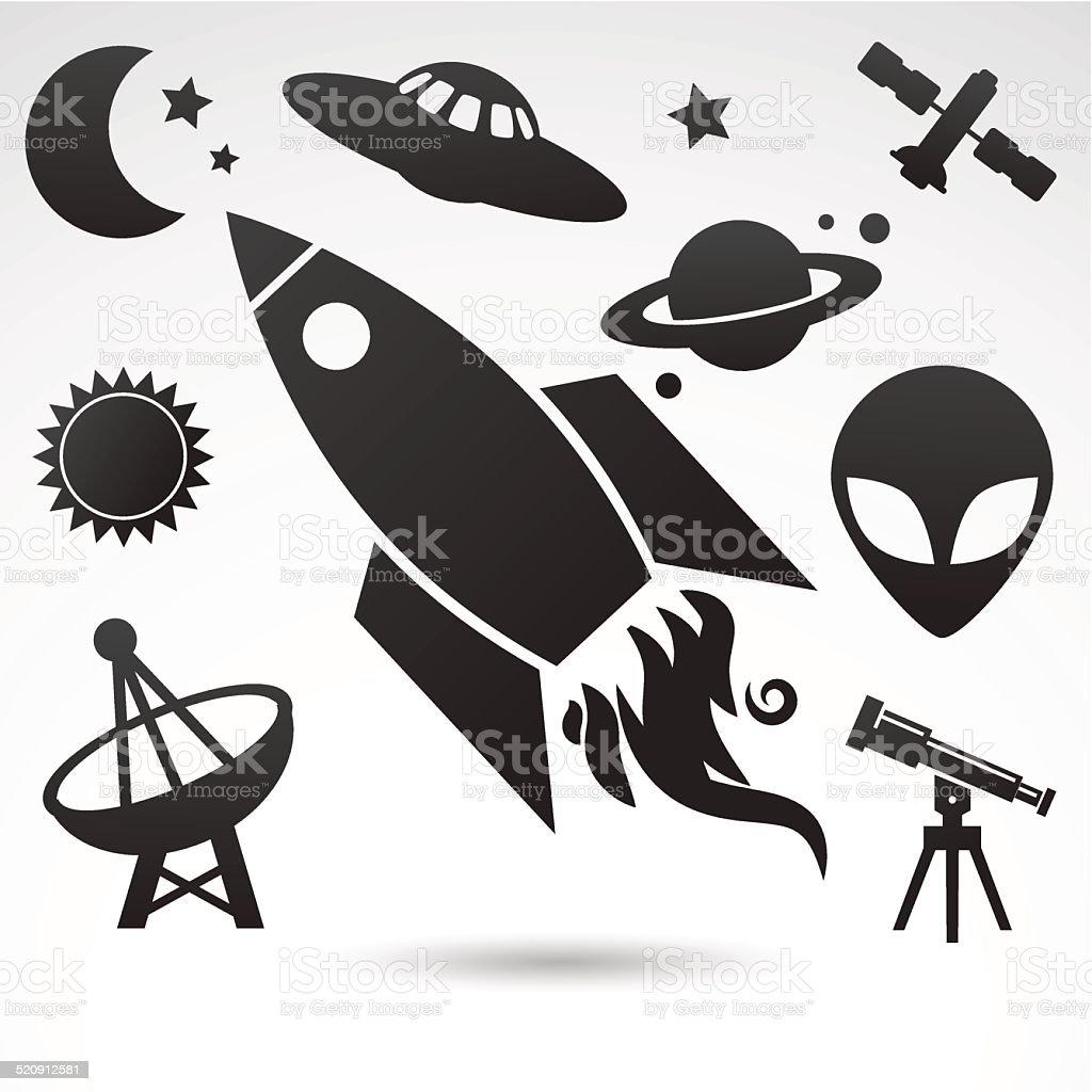 Cosmic icons isolated on white background. vector art illustration