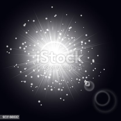 Bright light effect with shining rays. A glare from the lens on a black background.