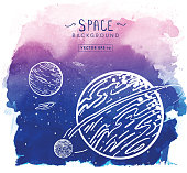 Vector illustration of a Cosmic space background with watercolor texture. Hand draw planets and space elements. Easy to edit.