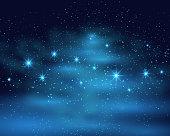 Cosmic space dark sky background with blue bright shining stars nebula at night vector illustration