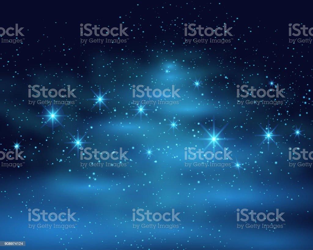 ブルーに輝いて明るいと暗い空背景を宇宙空間の星夜のベクトル図で星雲 ベクターアートイラスト