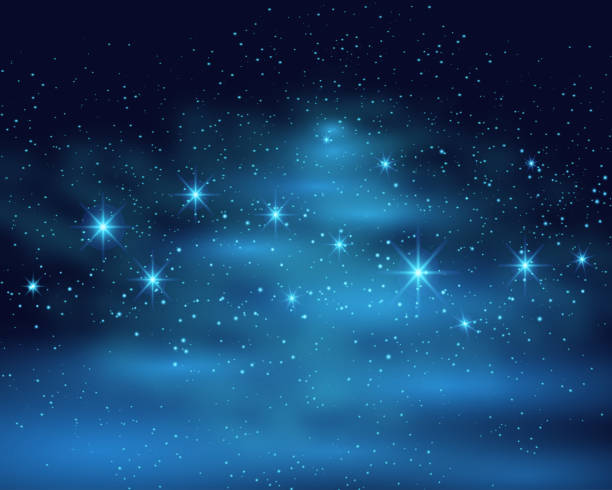 Cosmic space dark sky background with blue bright shining stars nebula at night vector illustration Cosmic space dark sky background with blue bright shining stars nebula at night vector illustration. celebrities stock illustrations