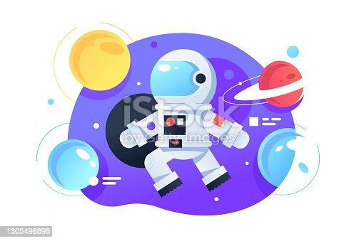 istock Cosmonaut in space 1305496898