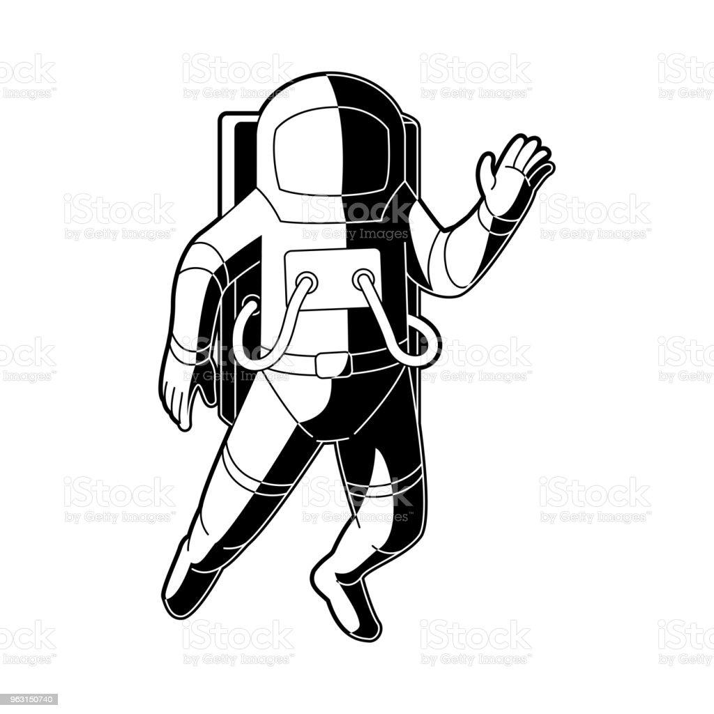 Kosmonaut i rymddräkt flyger i tyngdlöshet i rymden isolerad på vit bakgrund. - Royaltyfri Arbetshjälm vektorgrafik