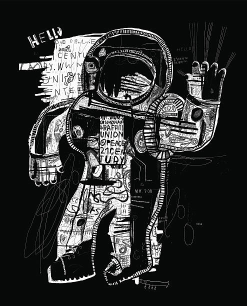 Cosmonaut The symbolic image of an astronaut who sends his greetings to all street art stock illustrations