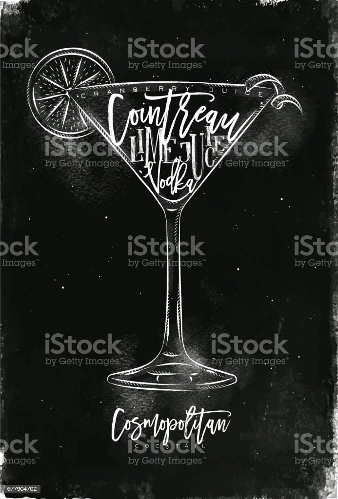 Cosmopolitan cocktail chalk royalty-free cosmopolitan cocktail chalk stock vector art & more images of alcohol