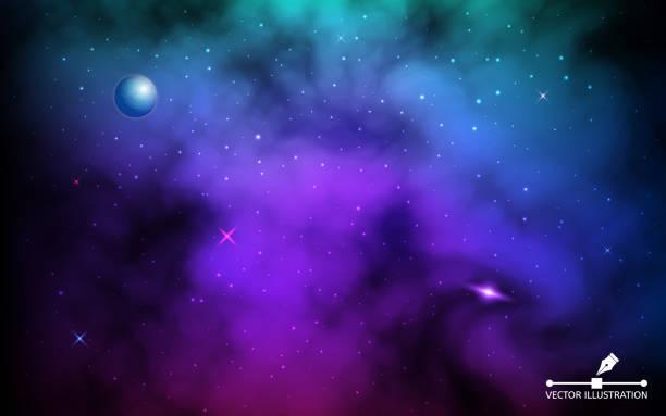 cosmos hintergrund. bunte galaxie mit planet und leuchtenden sternen. raumhintergrund mit milchstraße und sternenstaub. realistischer kosmos mit erde und nebel. unendliches universum. vektorabbildung - milky way stock-grafiken, -clipart, -cartoons und -symbole