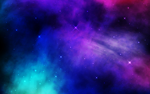Cosmos background. Colorful space with stardust and shining stars. Bright nebula and milky way. Blue galaxy backdrop. Night starry sky. Universe banner. Vector illustration