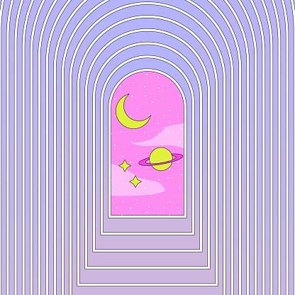 Cosmos esoteric digital vector art.