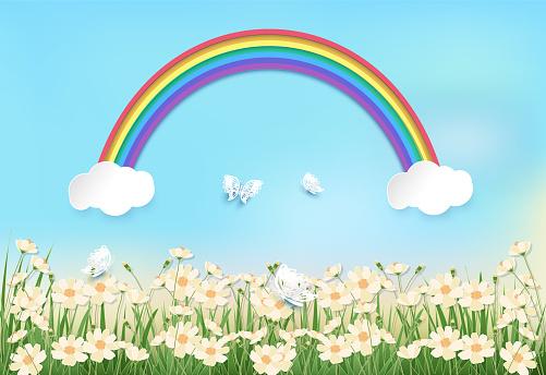 코스모스 꽃 필드와 푸른 하늘에 무지개 배경 종이 예술 종이 공예 스타일 일러스트 경관에 대한 스톡 벡터 아트 및 기타 이미지