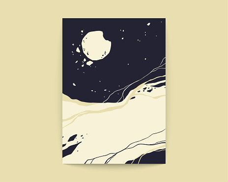 Cosmos grunge poster. Moon and sky in black and white colors. Adtrology 3d abstract space objects. Vector illustration