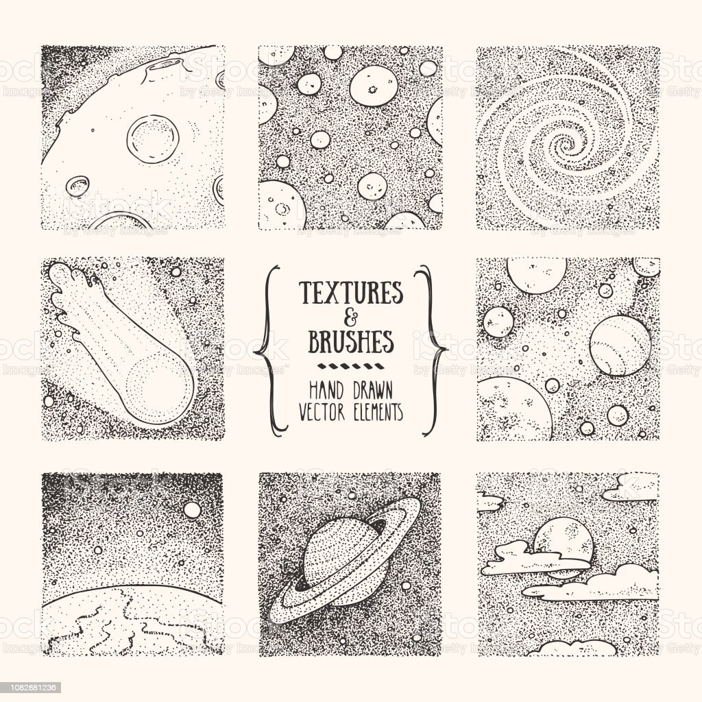 Cosmos, space exploration hand drawn clipart illustrations. Artistic square design template collection. Vector set isolatad on white background. vector art illustration